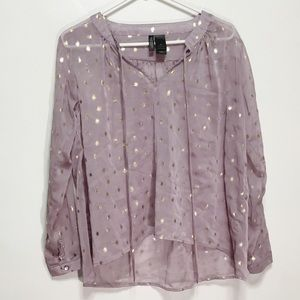 Bisou Bisou Purple Sheer Gold Glitter Blouse